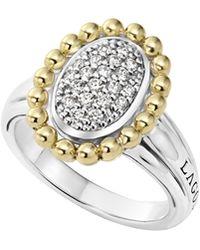 Lagos | 18k Gold Caviar & Oval Diamond Ring | Lyst