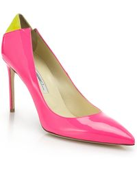 Brian Atwood Mercury Suede-Paneled Watersnake Pumps - Lyst