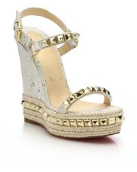 Christian Louboutin | Cork & Leather Platform Wedge Sandals | Lyst