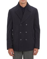 Faconnable Buttonthrough Double Lapel Peacoat - Lyst