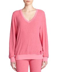 Wildfox V-Neck Sweatshirt pink - Lyst