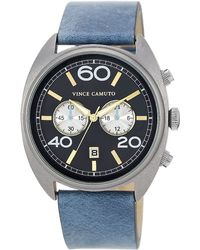 Vince Camuto - Mens Silver Tone And Sky Blue Strap Watch - Lyst