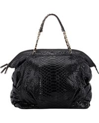 Zagliani - Python Christy Medium Shoulder Bag-Black - Lyst