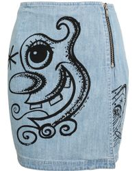 Jeremy Scott Cartoon Printed Denim Skirt - Lyst