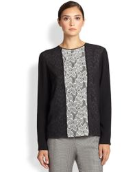 Piazza Sempione Lace-Front Silk Top - Lyst