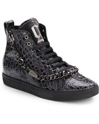 John Galliano Patent Leather High-Top Sneakers - Lyst