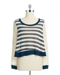 Ella Moss Striped Cropped Sweater - Lyst