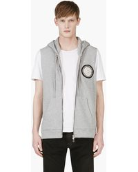Balmain Grey Patched Sleeveless Hoodie - Lyst