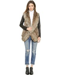 June - Fur Jacket With Leather Sleeves - Natural/Brown - Lyst