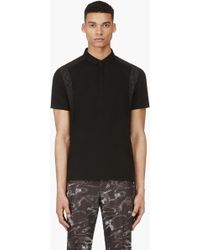 Calvin Klein Black Rubber Graphic Print Polo - Lyst