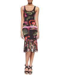 Jean Paul Gaultier Printed Fringe-Bottom Tank Dress - Lyst