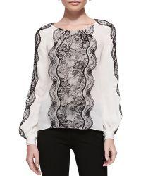Oscar de la Renta Long-Sleeve Lace-Panel Blouse - Lyst
