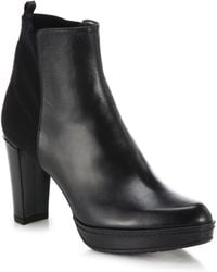 Stuart Weitzman Otherhalf Leather & Stretch Booties black - Lyst