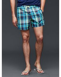 "Gap - Plaid Swim Trunks (5.5"") - Lyst"