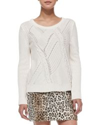 Milly Perforatedcable Knit Sweater - Lyst