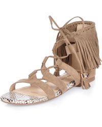 River Island | Brown Fringed Lace-up Sandals | Lyst