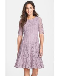 Adrianna Papell Lace Fit-and-Flare Dress - Lyst