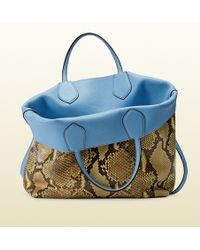 Gucci Ramble Reversible Python and Leather Tote - Lyst