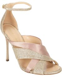 Sergio Rossi Satin And Glitter Leather Ankle-Strap Sandals gold - Lyst