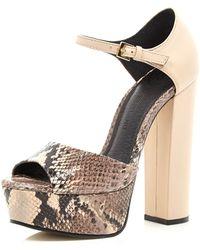 River Island Cream Snake Peep Toe Platform Sandals - Lyst