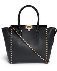 Valentino 'Rockstud' Medium Leather Zip Tote - Lyst