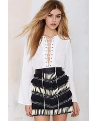 Nasty Gal Livin' After Midnight Lace-Up Blouse - Lyst