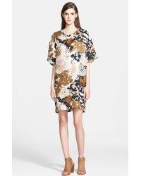 Rag & Bone 'Chester' Camo Print Silk T-Shirt Dress - Lyst
