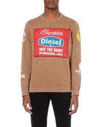 Diesel S-Galev Hand Painted Sweatshirt - For Men beige - Lyst