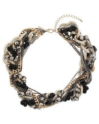 Topshop Twisted Chain and Bead Collar - Lyst