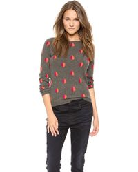 Chinti And Parker Queen Of Hearts Cashmere Sweater Mid Greyscarlet Redruby - Lyst