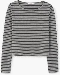 Mango | Striped Crop T-shirt | Lyst