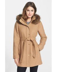 Ellen Tracy Women'S Hooded Wool Blend Coat With Genuine Fox Fur Trim - Lyst