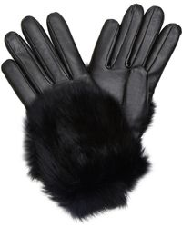 Imoni Leather And Rabbit Fur Gloves - Lyst