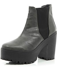 River Island Grey Chunky Platform Chelsea Boots - Lyst