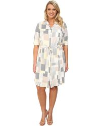 DKNY Plus Size Pleated Roll Tab Shirtdress - Lyst