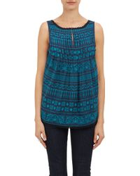 Barneys New York Embroidered Voile Tank - Lyst