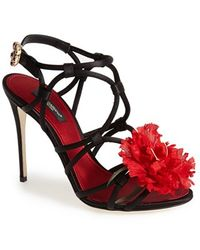 Dolce & Gabbana Floral Strappy Sandal - Lyst