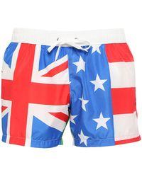 Moschino Flag Printed Nylon Bathing Shorts - Lyst
