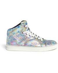 Lanvin Metallic Leather High Top Sneakers - Lyst