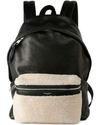 Saint Laurent - Rider Leather Backpack With Lamb Shearling - Lyst