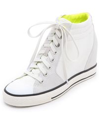 DKNY - Cindy Canvas Wedge Trainers White - Lyst