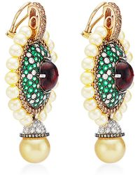 Abellan New York - One Of A Kind South Sea Pearl, Diamond And Emerald Earrings - Lyst