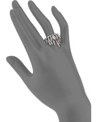 Alexis Bittar Fine Fine Ice Marquis Clear Quartz, White Sapphire & Sterling Silver Draped Fringe Ring silver - Lyst