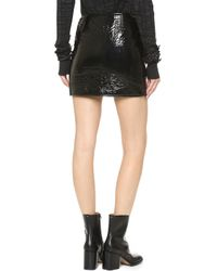 Vera Wang Collection - Miniskirt With Front Zipper - Black - Lyst