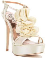 Badgley Mischka Flora T-Strap Ruffle Evening Shoe - Lyst