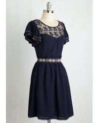 Moon Collection - Indie Darling Dress In Navy - Lyst