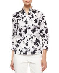 Carolina Herrera Three-Quarter-Sleeve Pansy-Print Button Blouse - Lyst