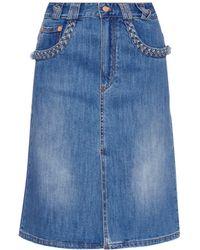 See By Chloé Braid-Detail Denim Skirt blue - Lyst