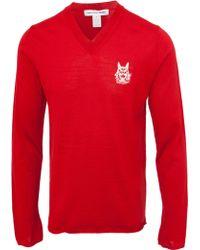 Comme des Garçons Logo Knitted Wool Jumper Red red - Lyst