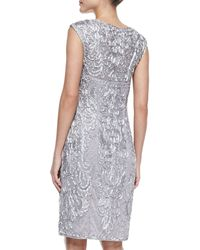 Sue Wong Sleeveless Beaded Embroidered Cocktail Dress - Lyst